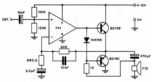 Circuito Amplificador De Audio : Circuitos electronicos circuito amplificador de audio con