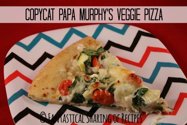 Copycat Papa Murphy's Veggie Pizza | The best veggie pizza there is - zucchini, spinach, and tomatoes - and lots of cheese! | www.fantasticalsharing.com