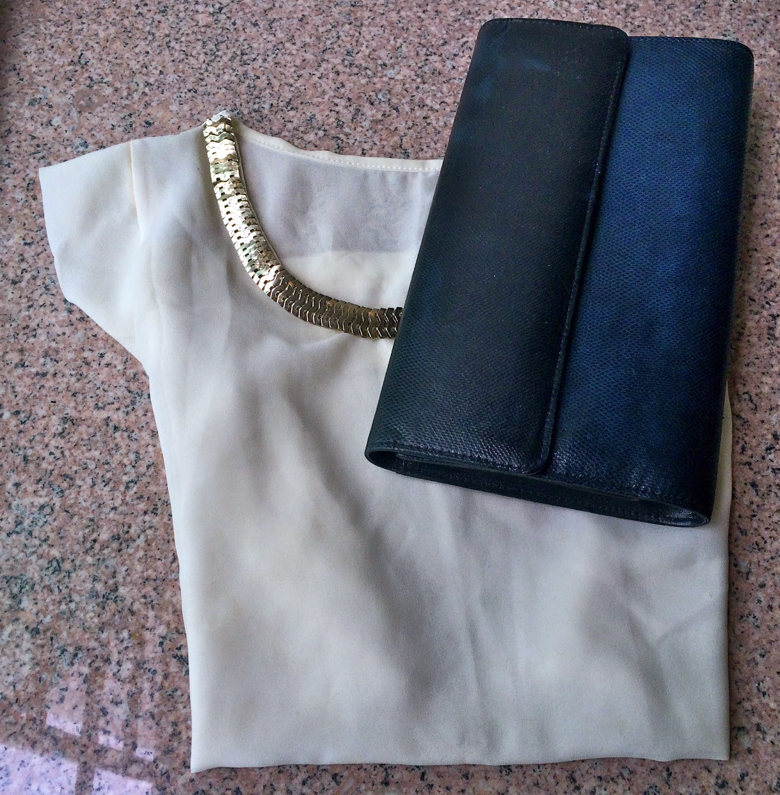 clutch gold cream top