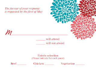 Custom Printables chrysanthemum wedding response card