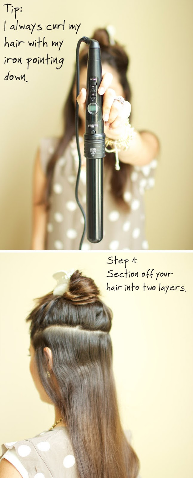 How to Curl Your Hair with iron Pointing down