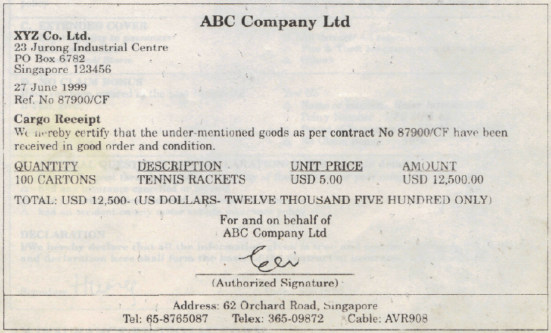 SIMPLE TOPIC Main Document Used in Transport – Template for Receipt of Goods