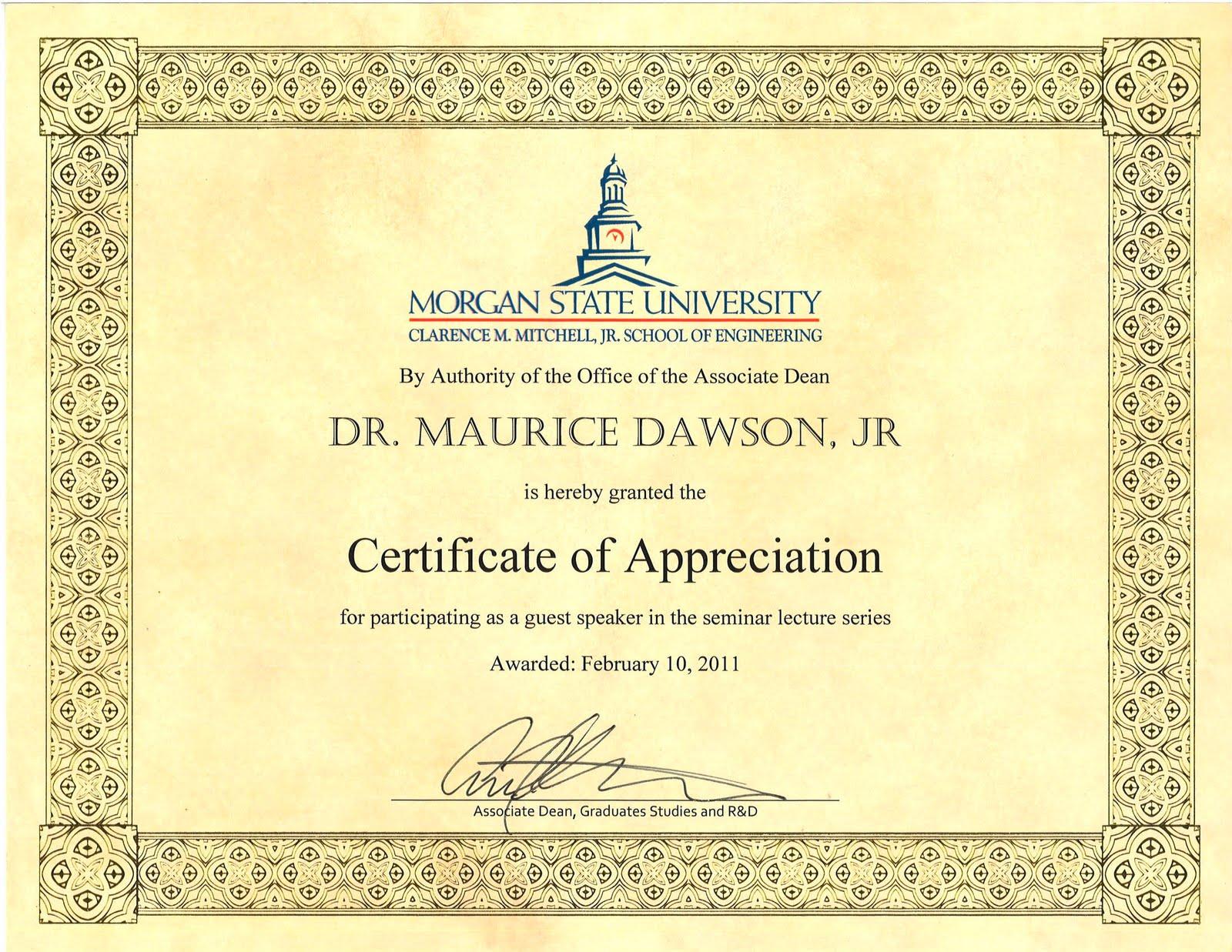 Morgan state university engineering seminar certificate of