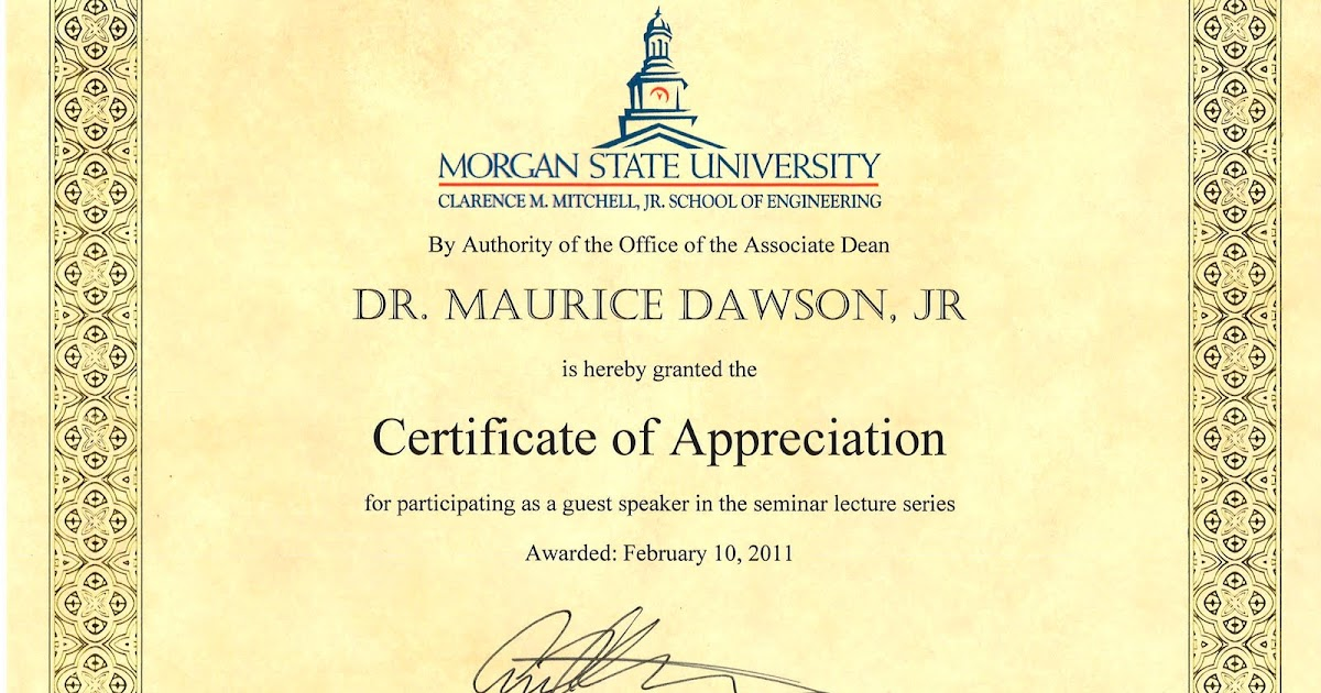 Technology knowledge and society morgan state university technology knowledge and society morgan state university engineering seminar certificate of appreciation yadclub Image collections