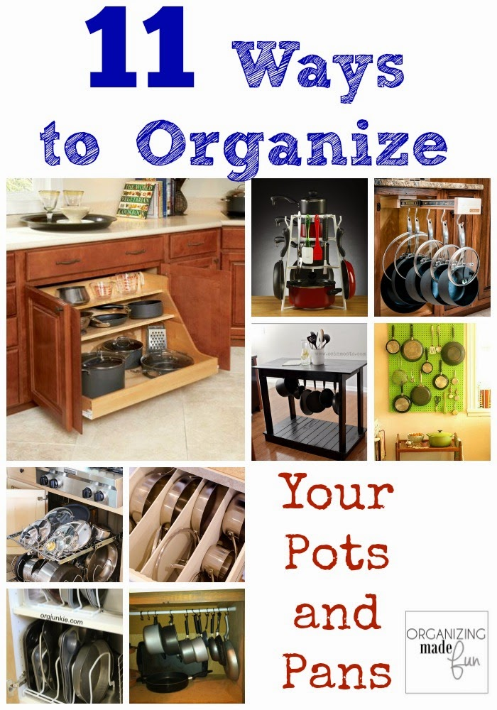 Pots and pans organized neatly