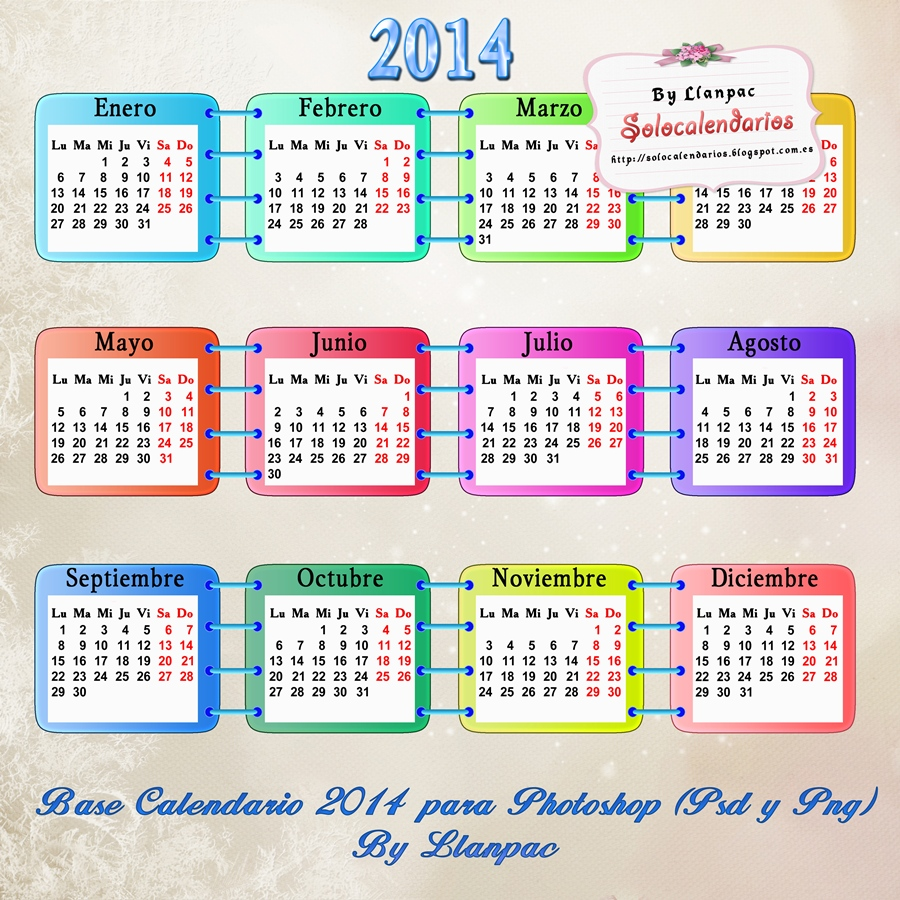 Recursos Photoshop Llanpac: Plantilla base para calendarios del 2014 ...