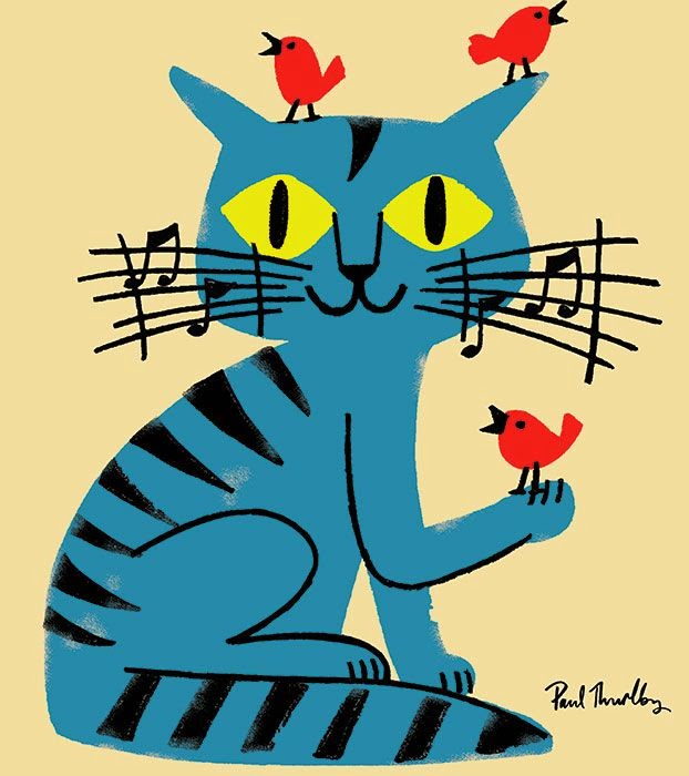 a musical blue cat and birds illustration by Paul Thurlby