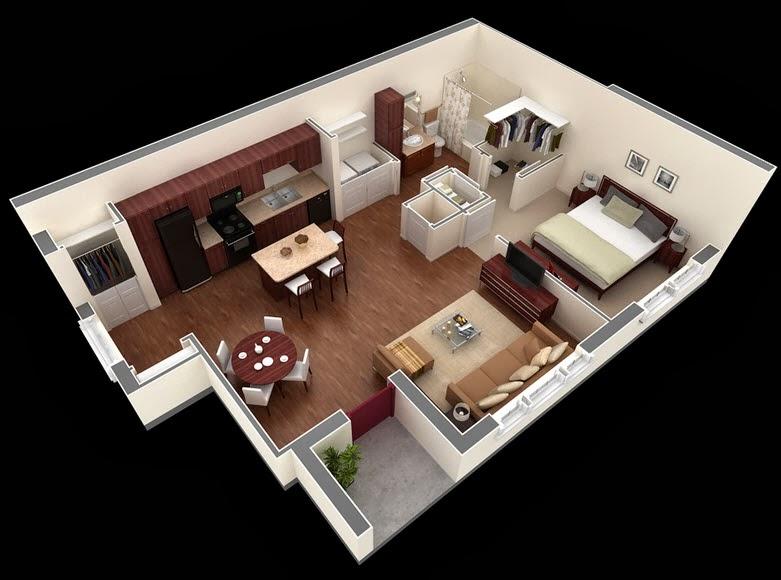 Departamentos peque os planos y dise o en 3d construye for Planos casa minimalista 3d