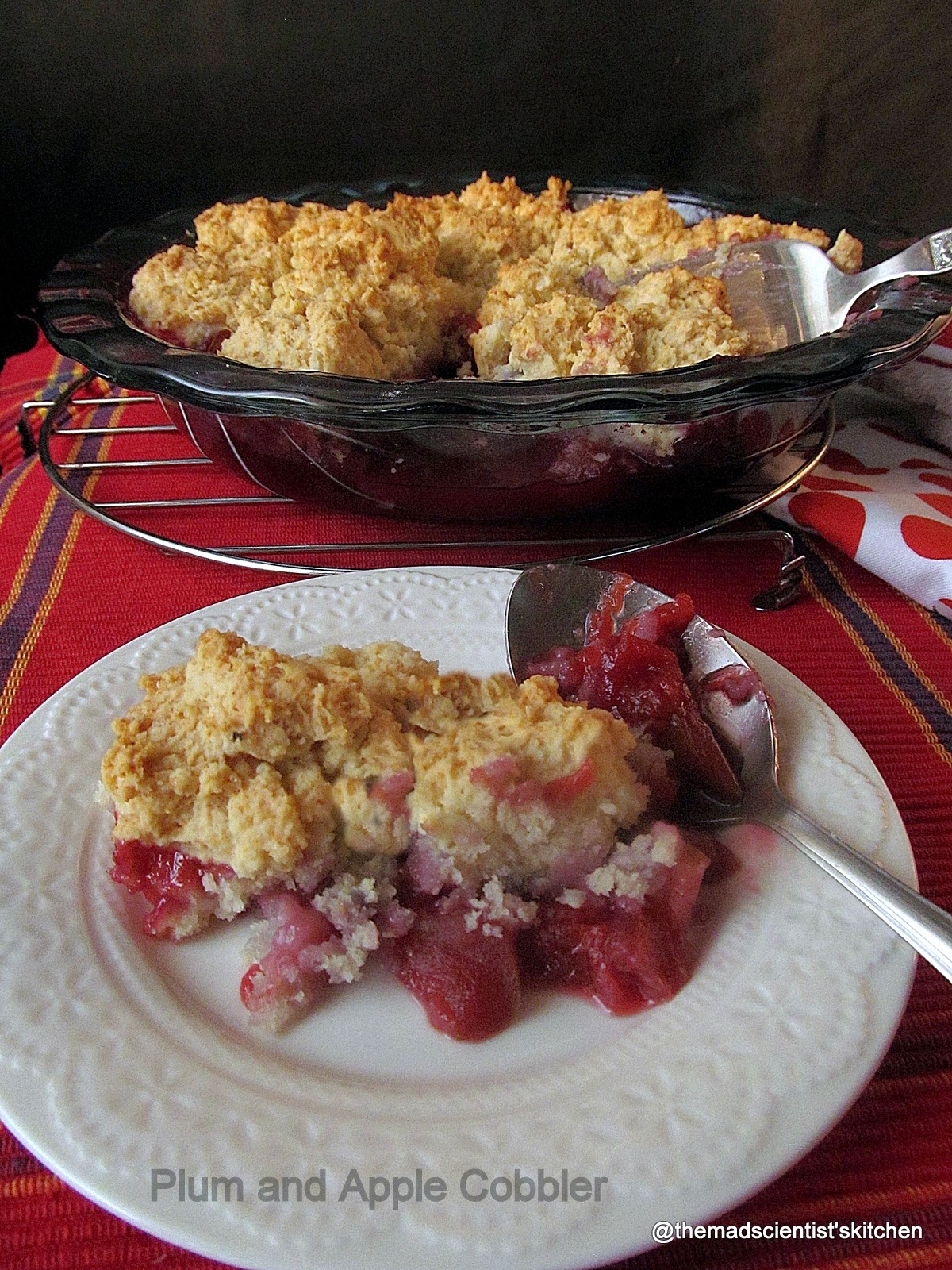 Plum and Apple Cobbler