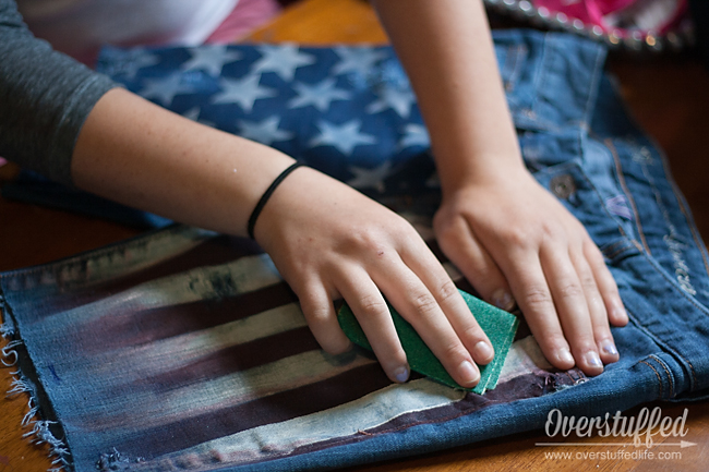 Easy DIY Patriotic Cutoff Shorts