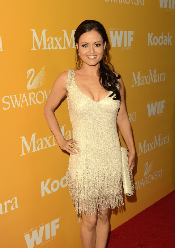 Danica McKellar in a ivory cocktail dress