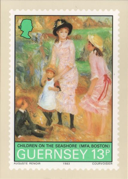Renoir painting on a stamp - Children on the sea shore - four children playing