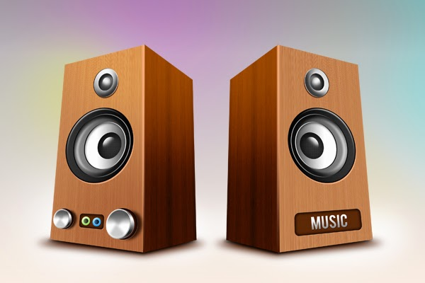 Wooden Speakers Icons PSD