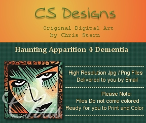 Haunting Apparition Goth digital digi stamp