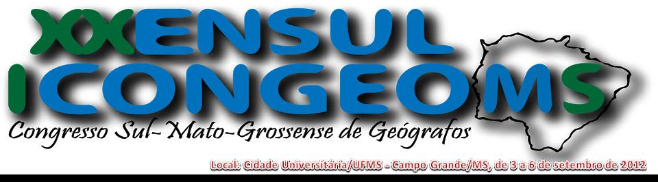 I CONGEOMS - I CONGRESSO SUL-MATO-GROSSENSE DE GEÓGRAFOS