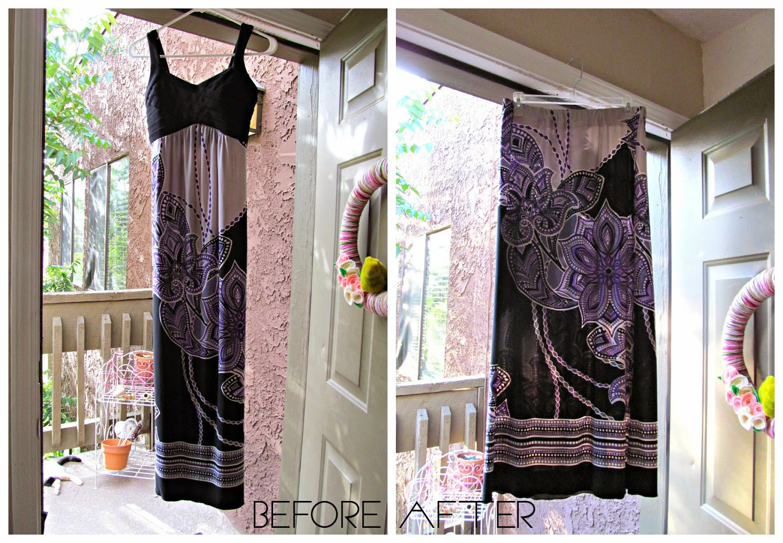 The Before & After of a Nearly no-sew Dress to Skirt Refashion