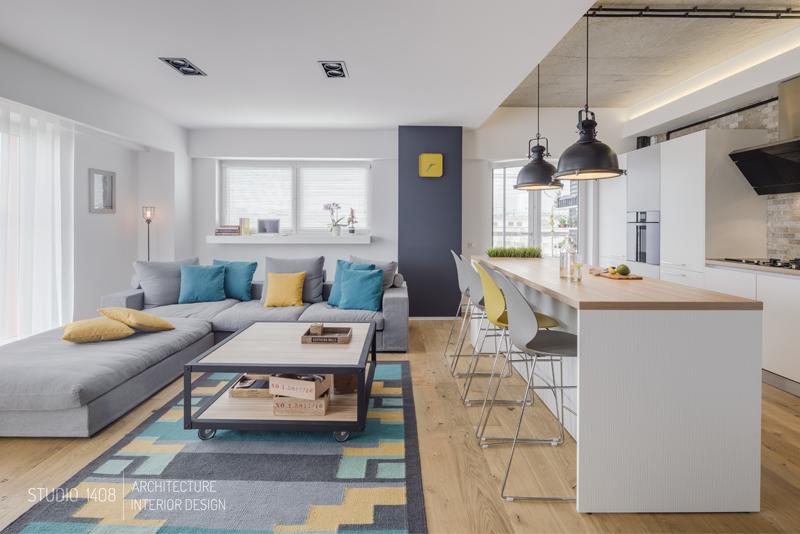 Jak urz dzi nowoczesny apartament bajkowe wn trza - Decoration salon bleu et beige 2 ...