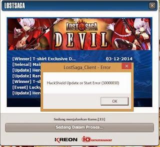 Solusi Error Lost Saga Indonesia Hackshield Update or Start Error (30000030)