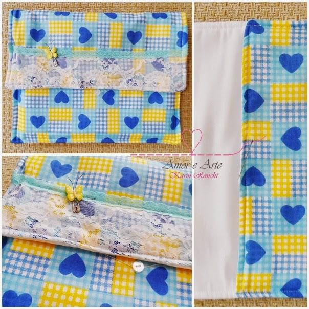 Case para tablet - Case Blue Heart - em tecido
