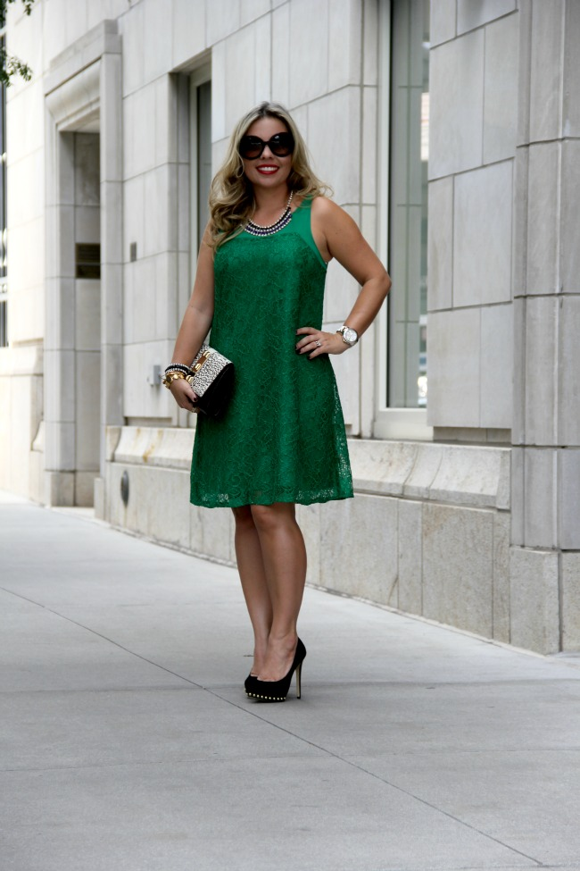 Jadeite Dress via Anthropologie, Ailee Studded Suede Pump via Michael Kors, Gibson One Button Fleece Blazer via Nordstrom, Prada Baroque Round via Nordstrom, Clutch Vince Camuto via TJ Maxx, Necklace via TJ Maxx and  Maybelline On Fire Red Lipstick.