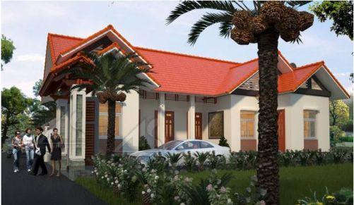 Mẫu nhà 1 tầng mái thái có 4 phòng ngủ, phong cách mới