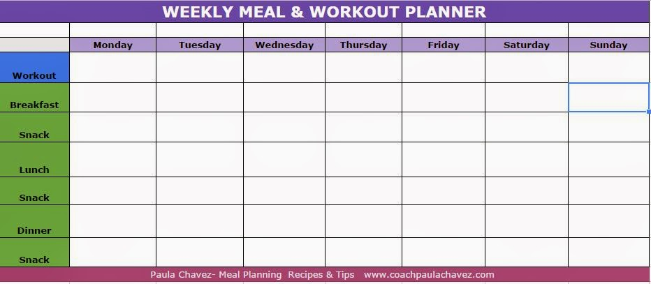 Meal and Workout Weekly Planner Template