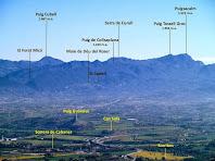 El Puig Cubell, la Serra de Curull i el Puigsacalm des del Turó de la Creu de Gurb