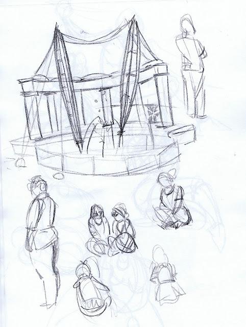 Gesture sketch of Forsythe Park auditorium