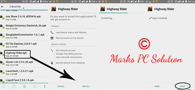 Highway Rider Installation Process on a Android Phone