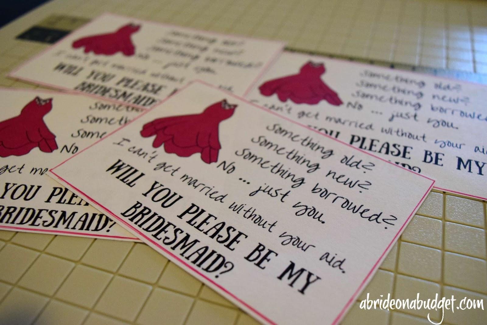 diy bridesmaids cards plus a free printable