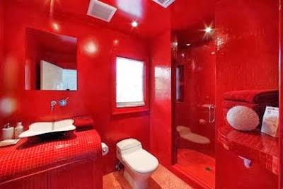 15 fotos de baños en rojo y blanco - Colores en Casa