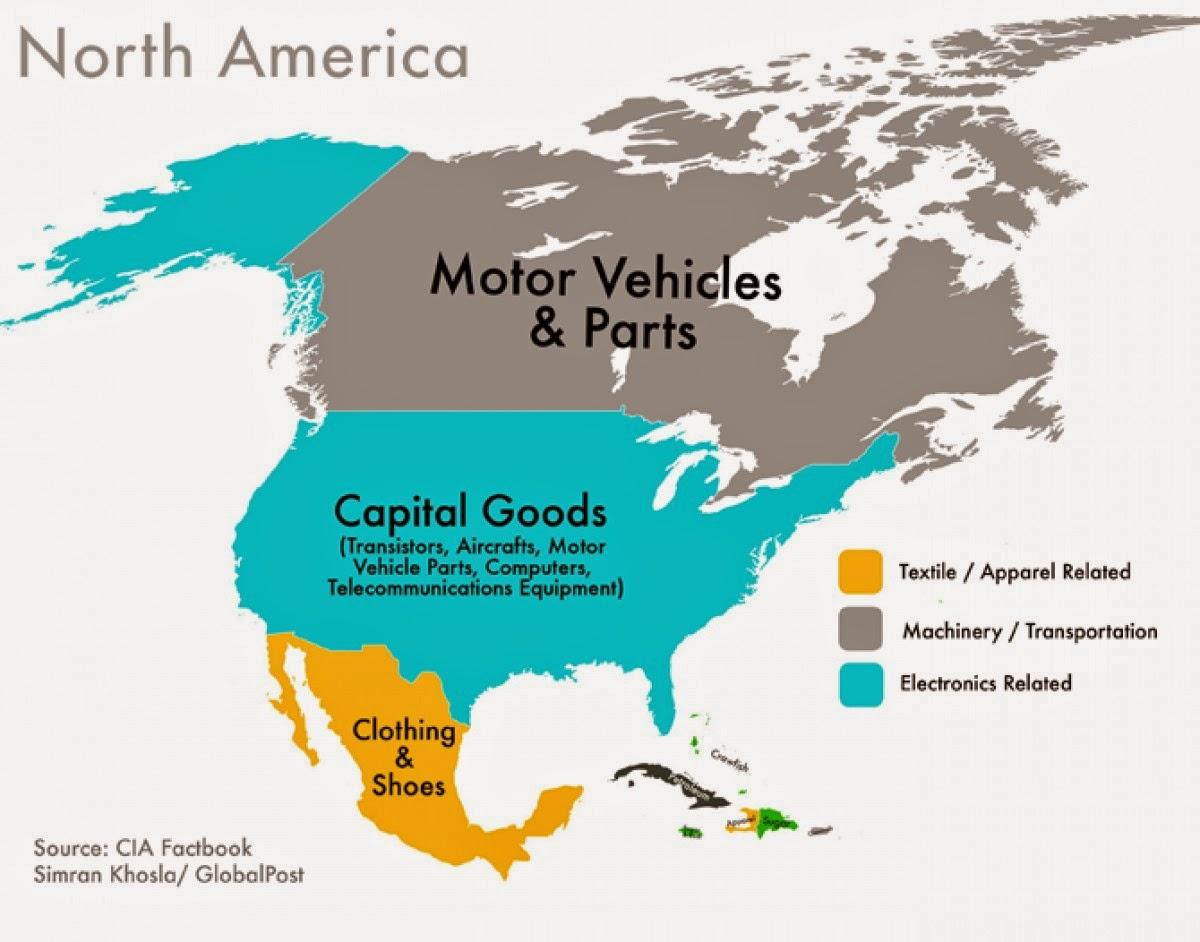 北米 アメリカ 輸出額 地図