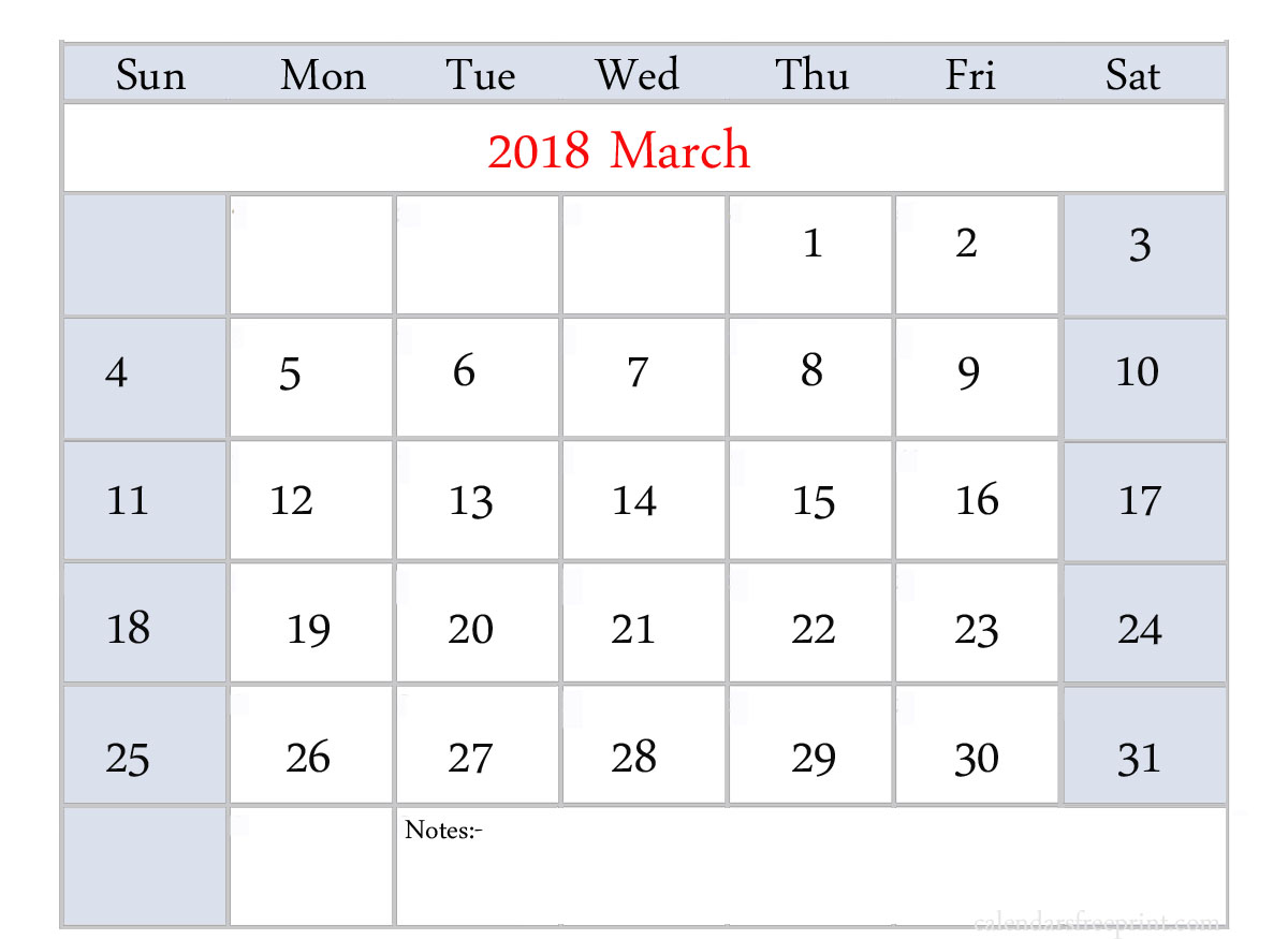 blank calendar 2018 monthly