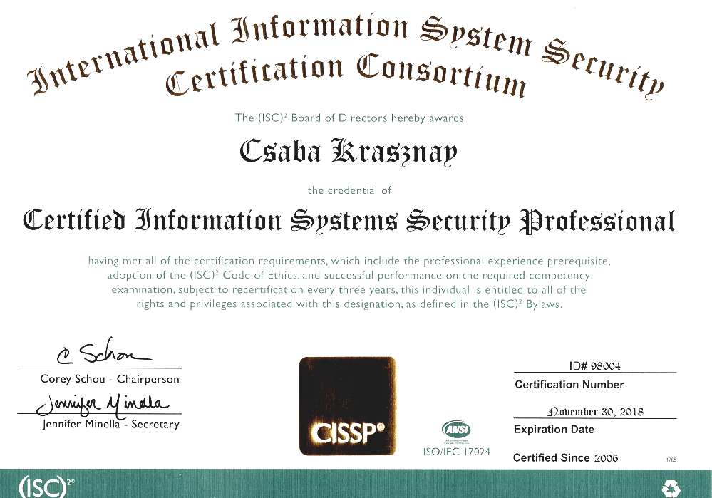 Certified Information Systems Security Professional Cissp Course