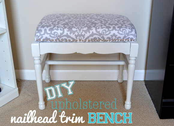 DIY upholstered nailhead trim bench : upholstered step stool - islam-shia.org