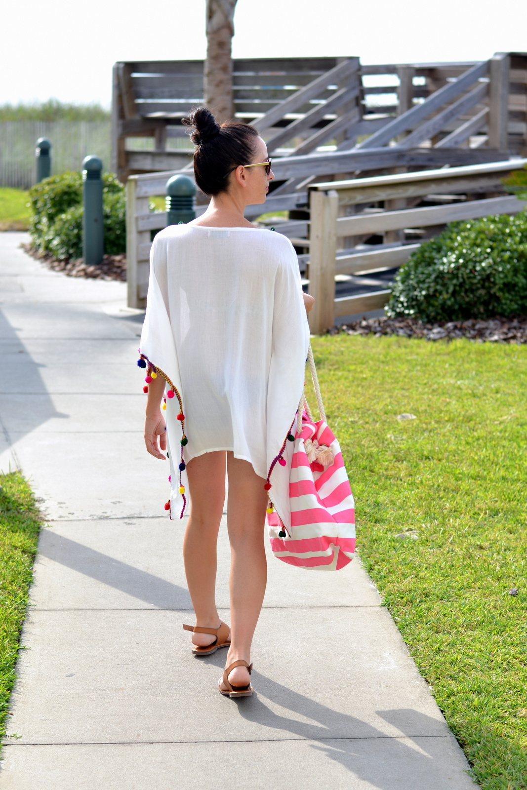 Beach Pom Pom Coverup and Top Knot