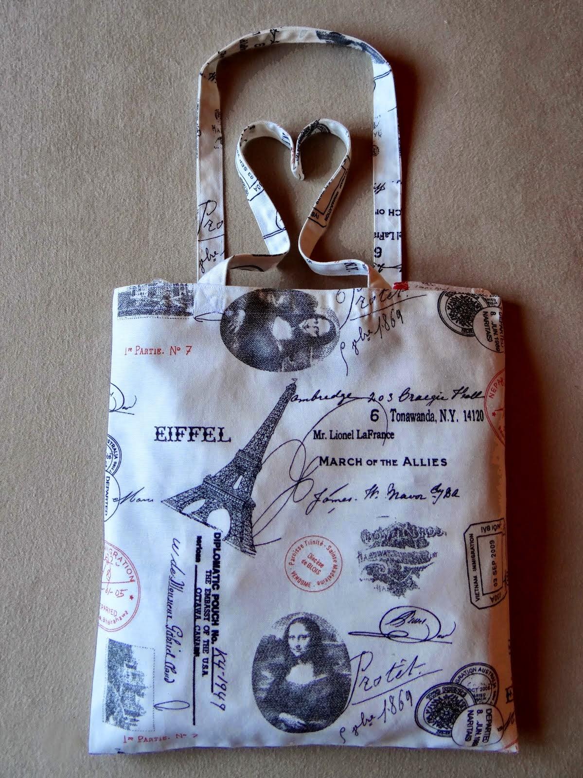 Geanta din bumbac, cu buzunare interioare si dantela de bumbac