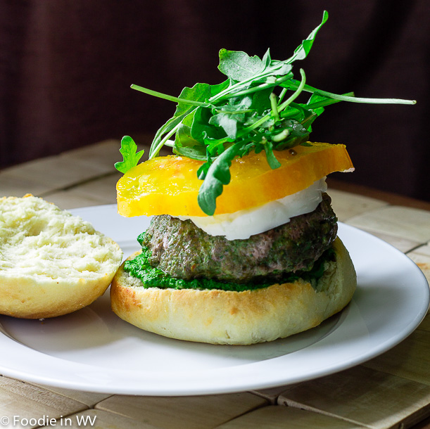 Click for Recipe for Burgers with Mozzarella and Spinach-Arugula Pesto
