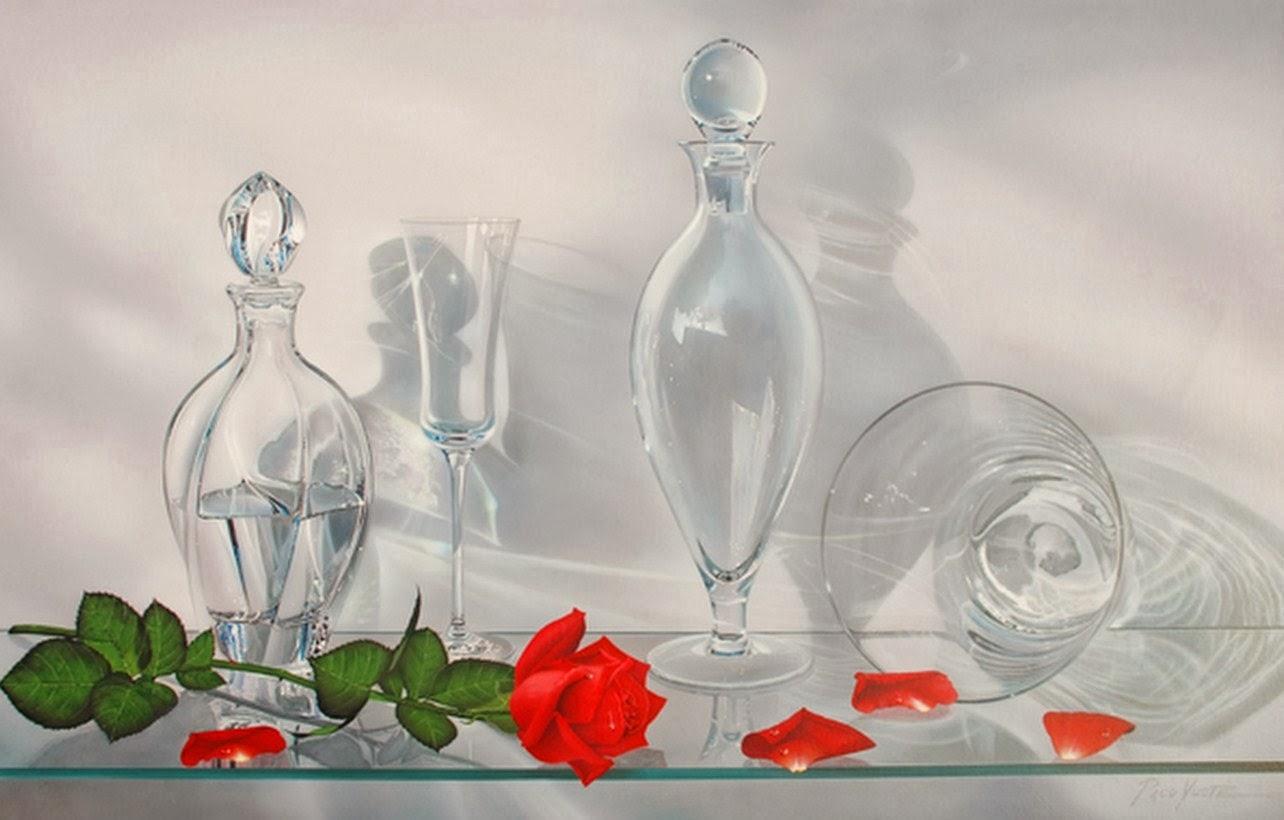 Cuadros de flores pinturas hiperrealistas con jarrones for Copas de cristal