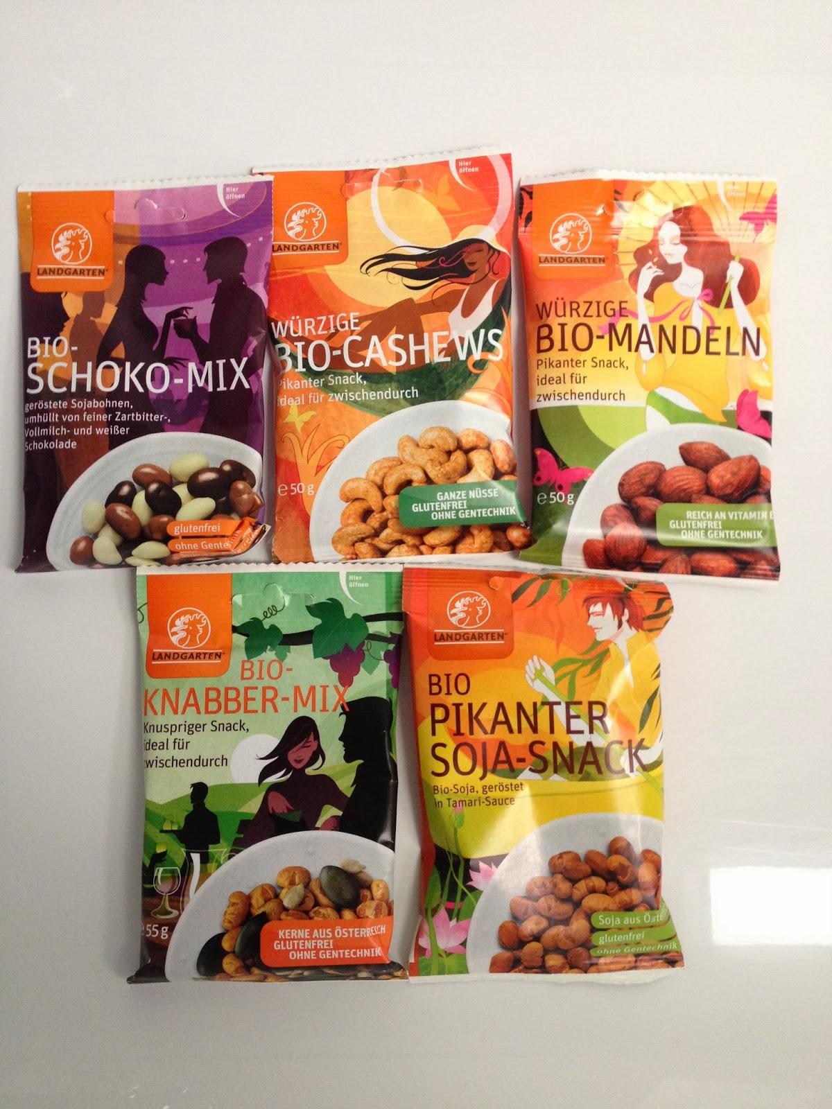 würzige Bio-Mandeln; würzige Bio-Cashews, Bio-Schoko-Mix; Bio pikanter Soja-Snack; Bio-Knabber-Mix