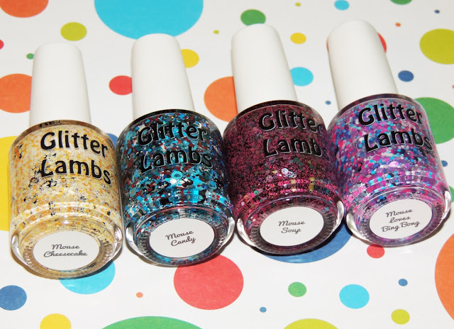 Mouse Nail Polish Collection of 4 By Glitter Lambs-  Mouse CheeseCake, Mouse Candy, Mouse Soup, Mouse Loves Bing Bong