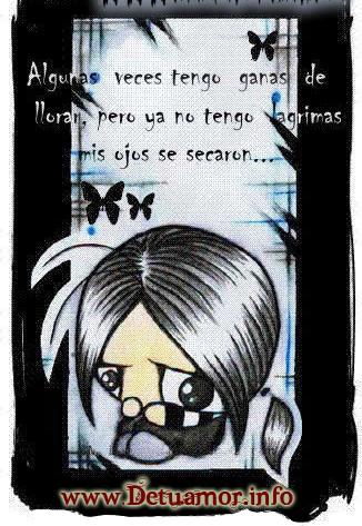 Algunas veces tengo ganas de llorar, pero ya no tengo lagrimas, mis ojos se secaron...