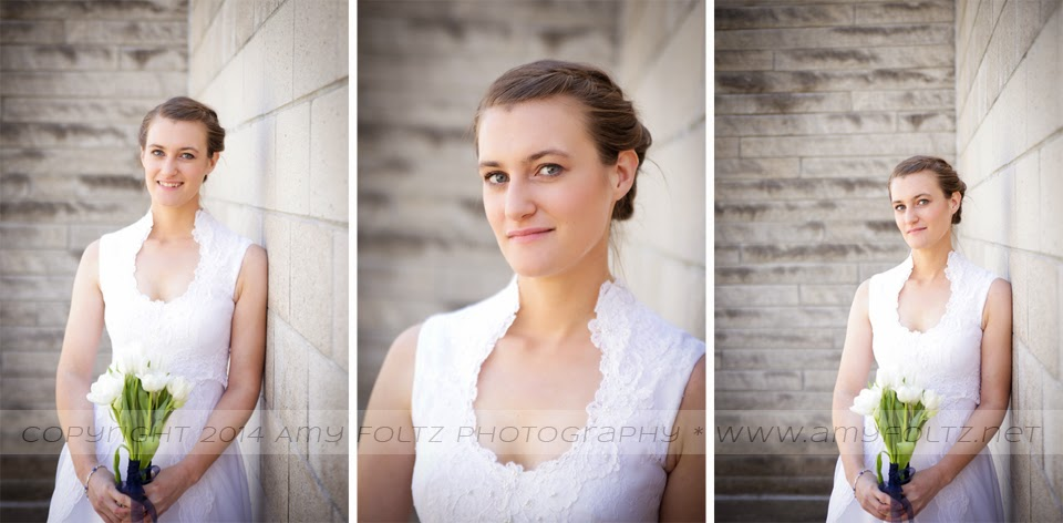 photos of a bride outside White Chapel in Terre Haute, IN