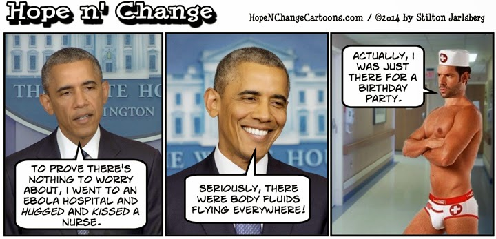 obama, obama jokes, cartoon, political, humor, conservative, stilton jarlsberg, hope n' change, hope and change, ebola, nurses, hug, kiss, cdc