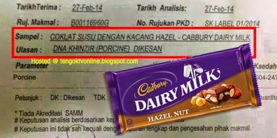 DNA babi dikesan dalam dua produk Cadbury Dairy Milk