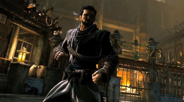 Image of Bruce Wayne in North Korean monastery. Screenshot from Batman: Arkham Origins Initation DLC trailer.