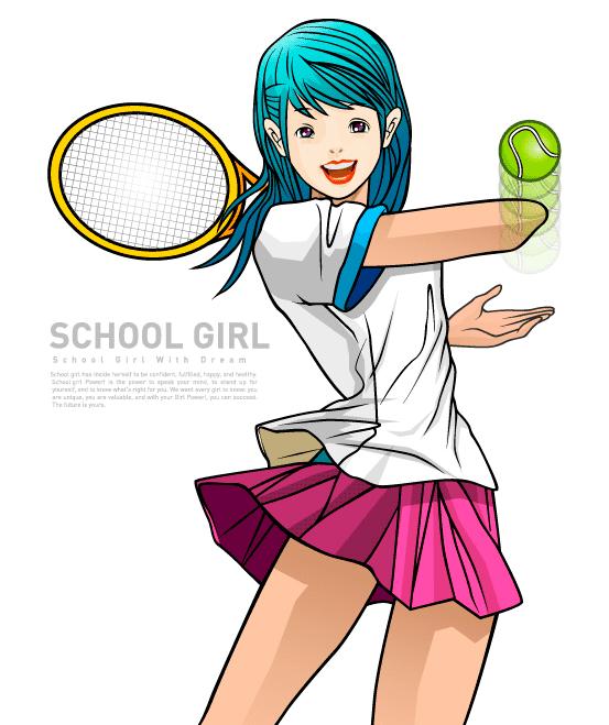 Colegiala jugando al tenis