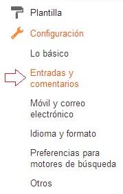 Configuración de entradas y comentarios