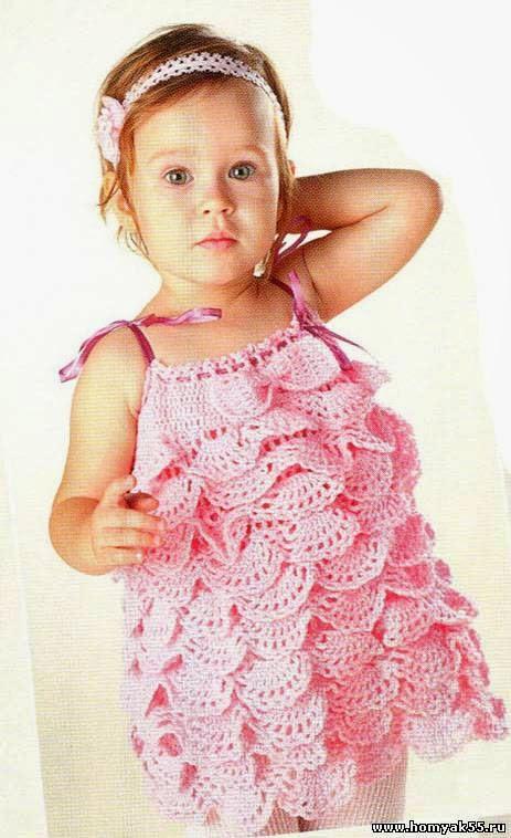 Vestido solero de niña con volados al crochet