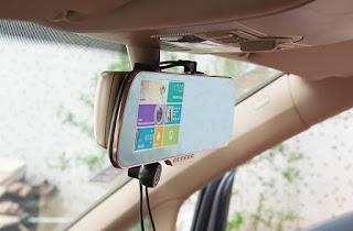 """Espejo retrovisor Android con pantalla táctil de 5"""",GPS, DVR y cámara trasera para vista en reversa y parqueo 1"""